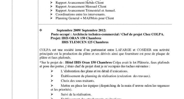 CV – H. Sellam Architecte Pilotage chantiers de construction