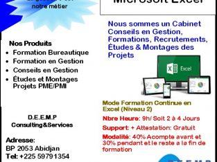 Formation de perfectionnement en microsoft Excel a distance ou en mode présentiel