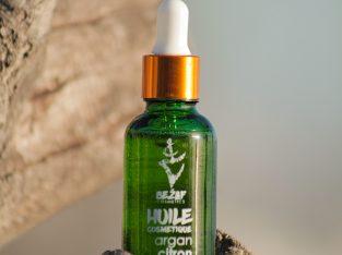 Huile cosmétique d'argan Bio parfumée au citron